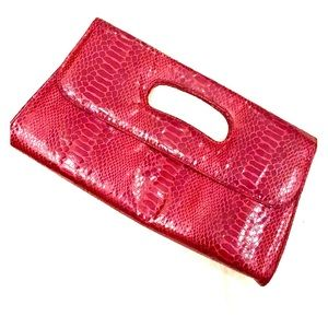 Handbags - Red snake print clutch!